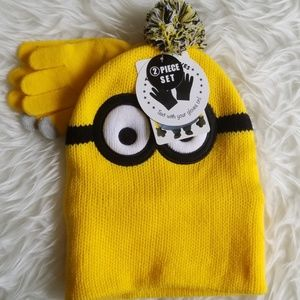Despicable Me Minion Yellow Hat and Gloves